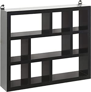 Halter Wall Mounted Multi-Compartment Floating MDF Cube Shelves for Office Space, Living Room, Bedroom Decor, Durable, Easy to Install - Black