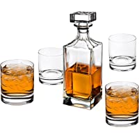 Godinger Glass 5-Piece Social Whiskey Decanter Set