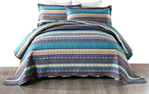 MarCielo 3 Piece Bohemian Quilt Set Quilted Bedspread Printed Quilt Rustic Quilt Set Bedding Throw Blanket Coverlet Lightweight Bedspread Boho Quilt (King, Boho)
