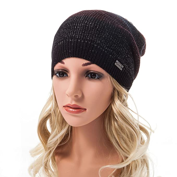 LADYBRO Slouchy Beanie for Women Striped Silver Threads Angora Knit Cap  Hats Women Warm Fashion Hat cef4355695