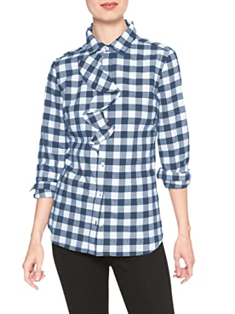 c987a15ee20192 Banana Republic Women's Heavyweight Flannel Plaid Ruffle-Placket Shirt Blue  Grey White Large