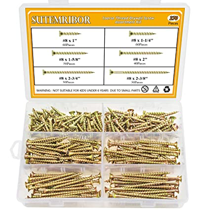 Sutemribor 270PCS #8 Bugle Head Coarse Thread Drywall Screw Assortment Kit  for Drywall Sheetrock, Wood, and More, 6 Sizes