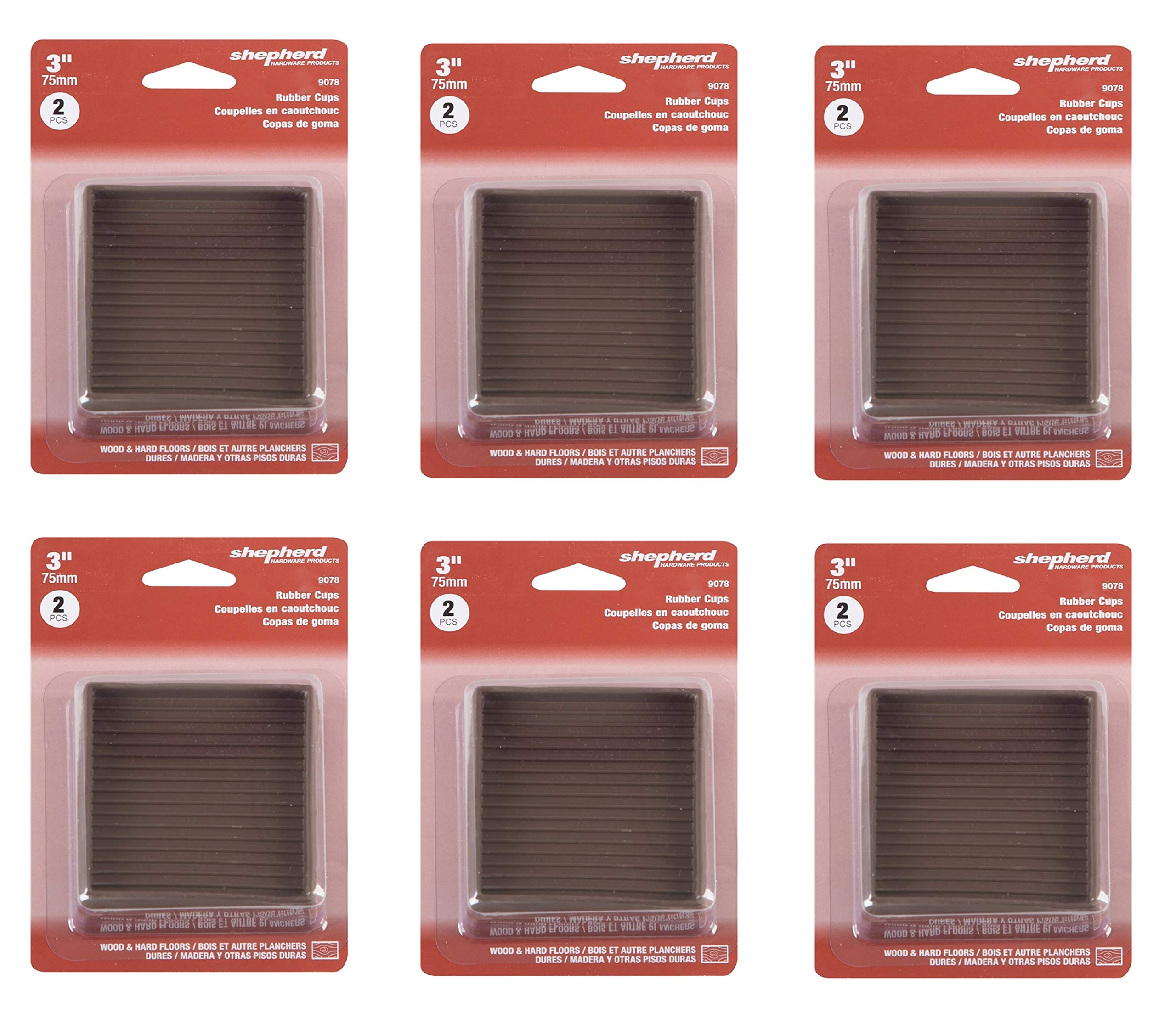 Shepherd Caster Cup 3''x3''Brown Rubber, Sold as 6 Pack, 12 Count Total