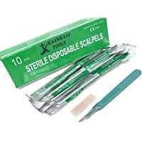 Box of 10 Disposable Sterile Scalpels Size #15 with Gratuated Plastic Handle & Metric Line Individually Foil Wrapped…