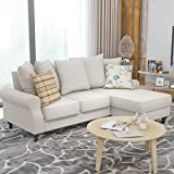 Wellgarden Fabric Corner Sofa Couch L Shaped 3 Seater Sofa Settee Chair Left or Right Hand Side Living Room Furniture (Apricot)