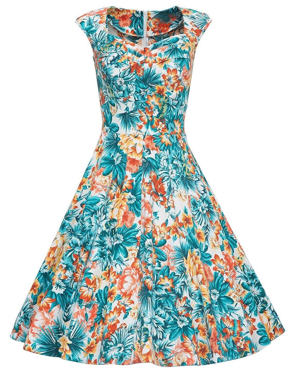 DRESSTELLS Women 1950s Retro Rockabilly Dress Vintage Audrey Swing ...