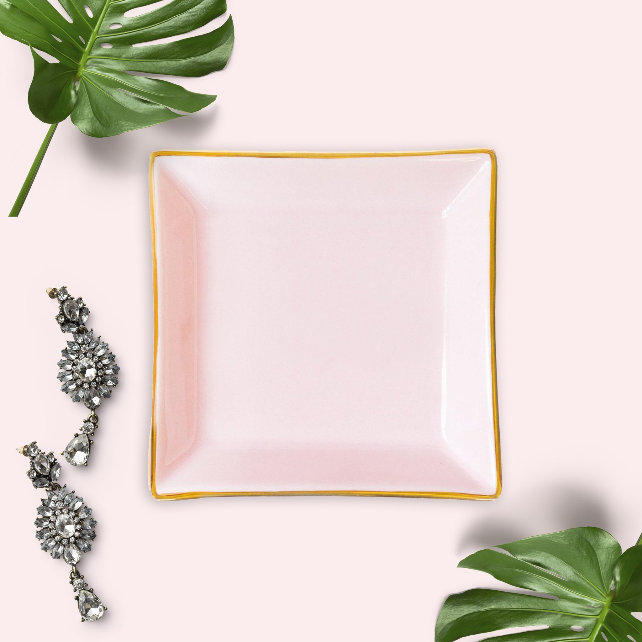 Pink Square Jewelry Dish | Small Ring Holder Ceramic Bridesmaid Tray Wedding Gift for Bride Office Decor