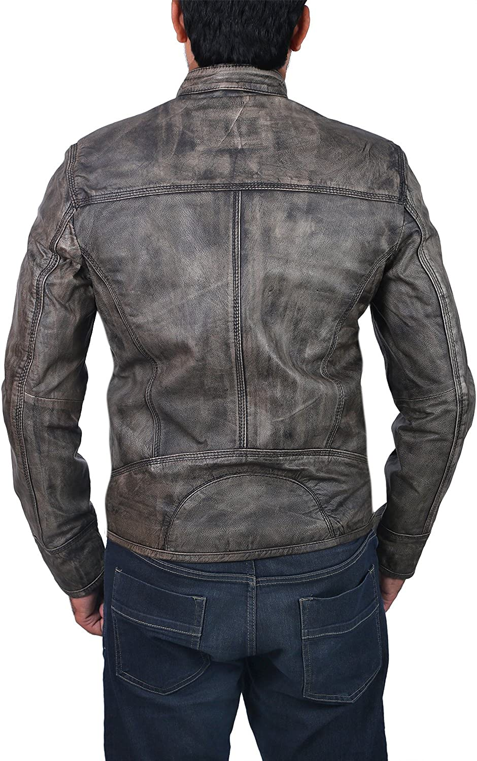 Triple Stitch Cafe Racer Distressed Wax Mens Biker Vintage Scooter Style Leather Jacket