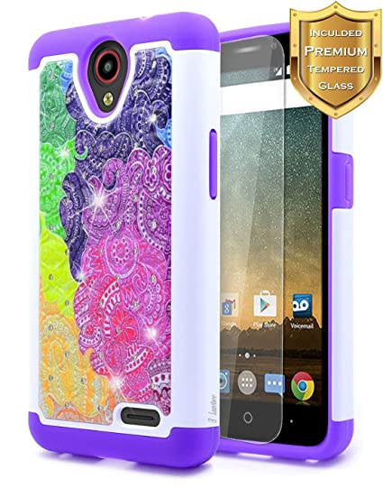 sports shoes 98e13 7a654 NageBee [Hybrid Protective] Soft Cover [Studded Rhinestone Bling] Diamond  Case with [Tempered Glass Screen Protector] For ZTE Maven 3 (Z835 AT&T),  ZTE ...