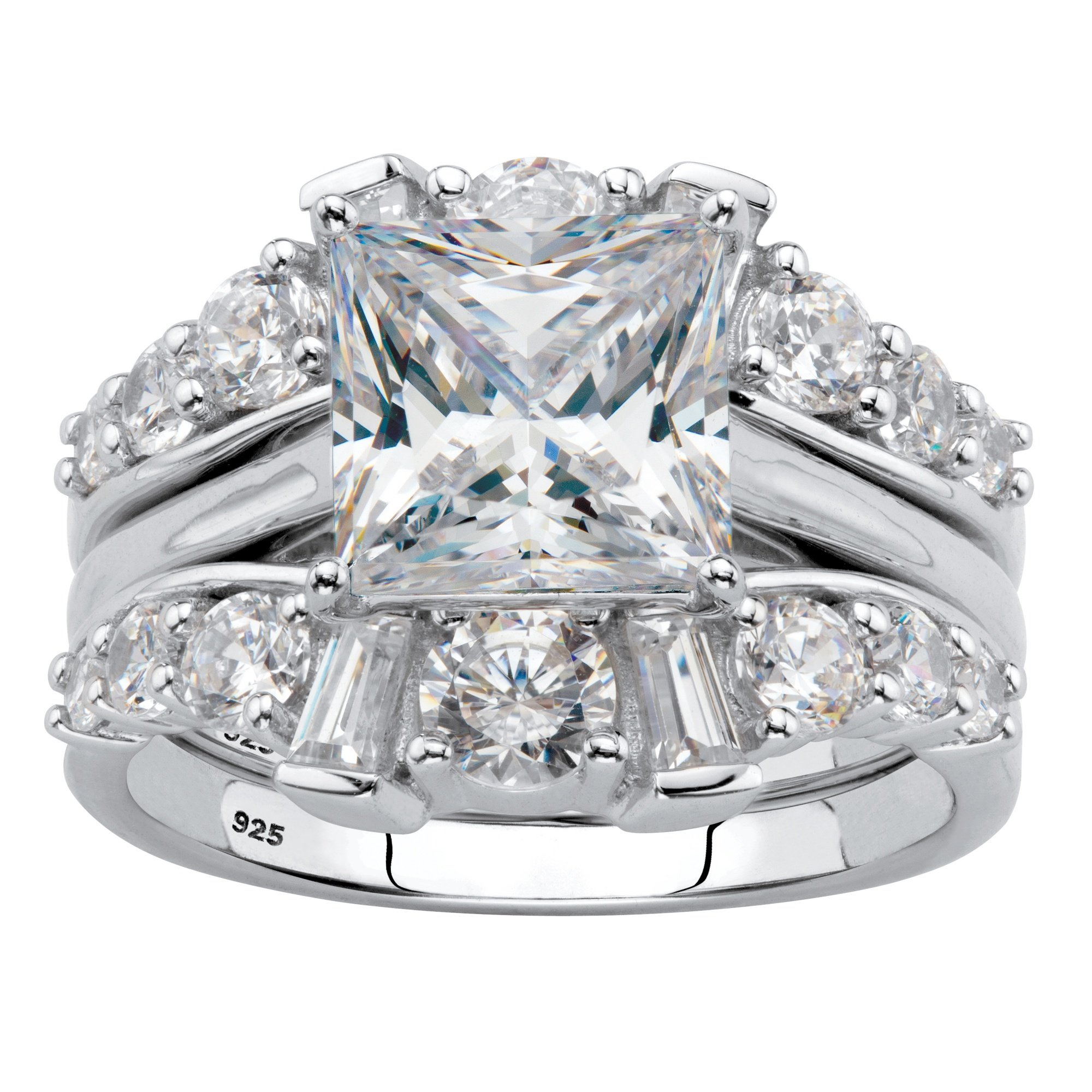 Platinum over Sterling Silver Princess Cut Cubic Zirconia Jacket Bridal Ring Set Size 6