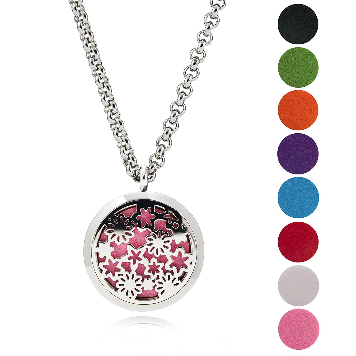 EVERLEAD Stainless Steel Round Essential Oils Diffuser Magnetic Locket/Carving Aromatherapy Necklace Everlead Inc CLP347S3001-C252S4060