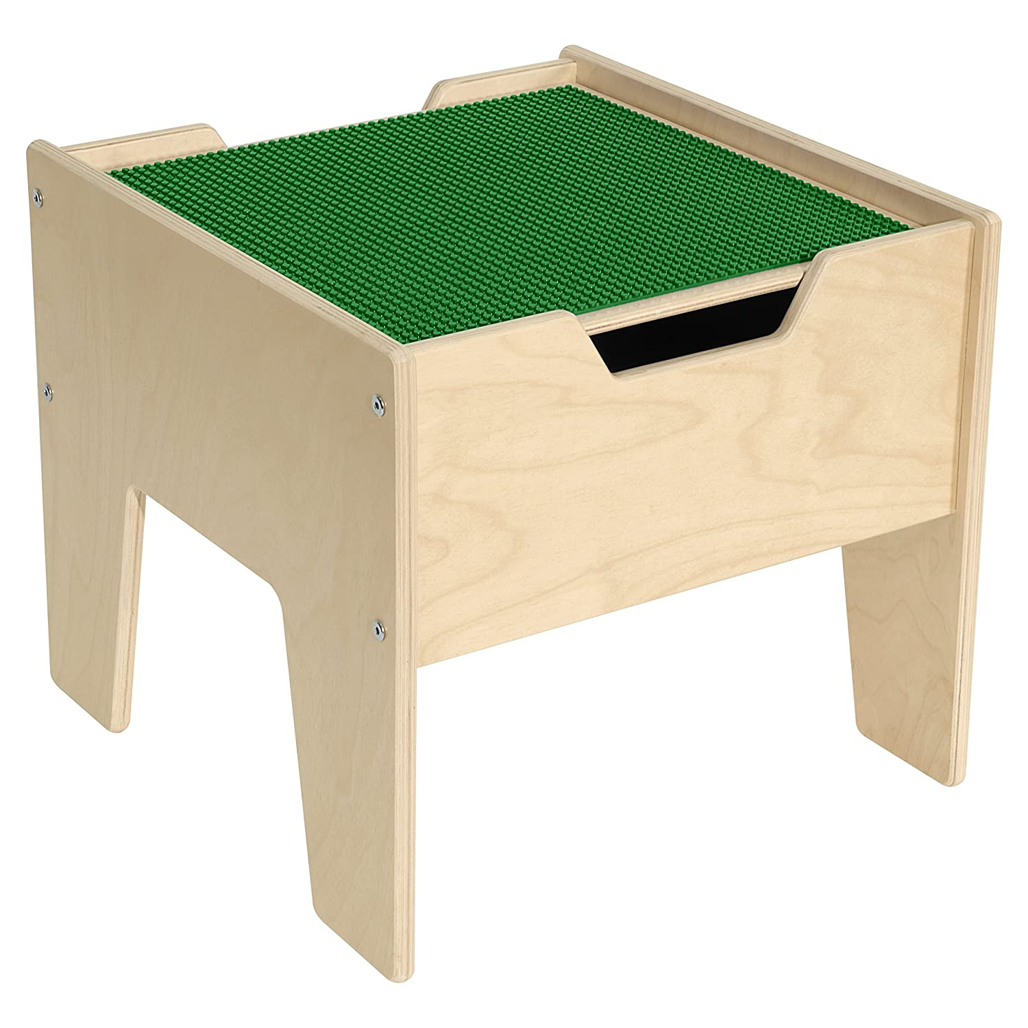 Image of Contender 2-N-1 Activity Table with Green Lego Compatible Top - RTA Building Sets