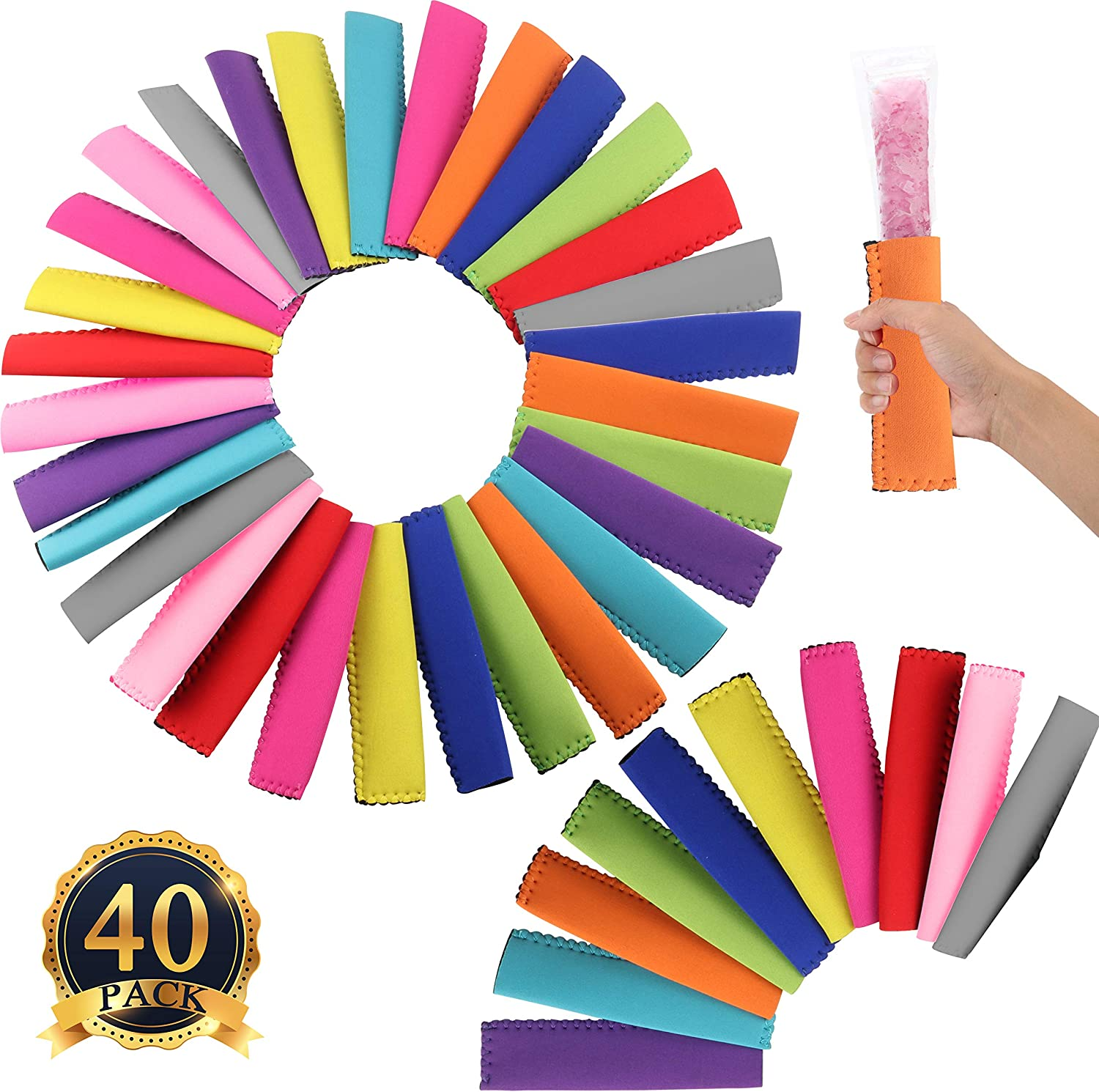 HaiMay 40 Pieces Reusable Popsicle Holders Popsicle Bags Freezer Ice Pop Sleeves Antifreezing Ice Pop Holders, 10 Colors