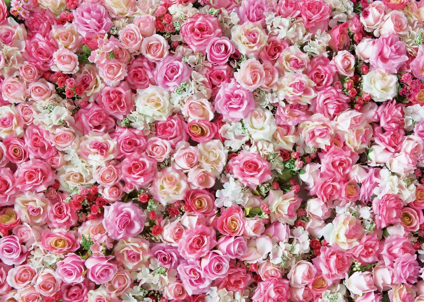 Dudaacvt 10x10ft Rose Floral Wall Wedding Photography Backdrop Vinyl Pink Flowers Wall Photo Backdrop Happy Birthday Backdrop Studio Prop D040