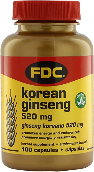FDC Vitamins Korean Ginseng - 520 mg - 100 Capsules
