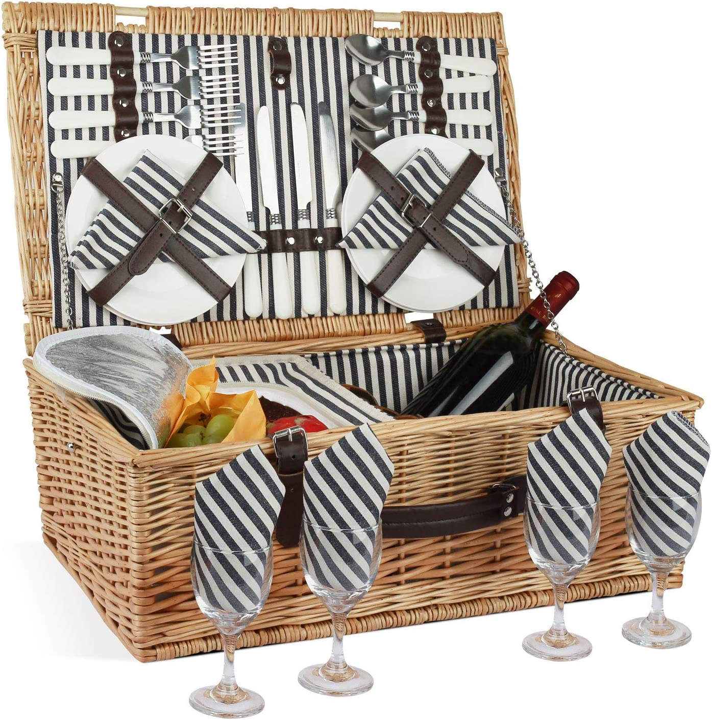 Large Wicker Hamper Set with Big Insulated Cooler Compartment Free Fleece Blanket and Cutlery Service Kit HappyPicnic Picnic Basket Willow for 4 Persons Fashionable White