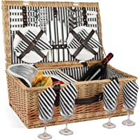 ZORMY Willow Picnic Basket for 4 Persons with Insulated Cooler Bag, Wicker Picnic Hamper Set with Utensils Cutlery…