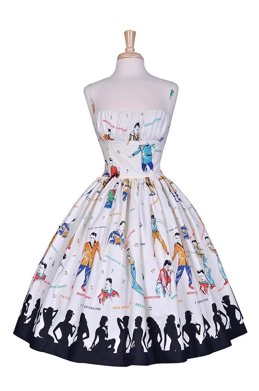 1950s Rockabilly Dresses Womens Bernie Dexter Paris Dress in Rockabilly Idol Print $168.00 AT vintagedancer.com