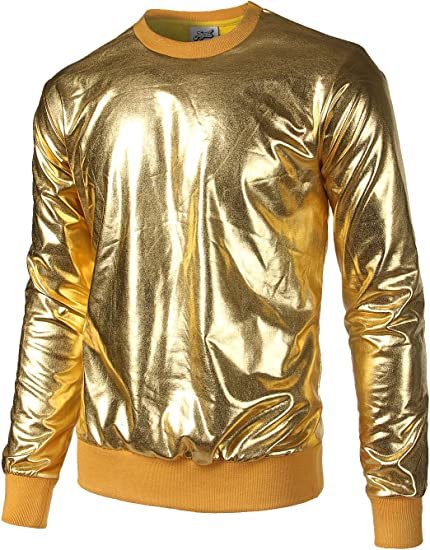 JOGAL Mens Metallic Gold Shirts Nightclub Styles Long Sleeve Hoodies