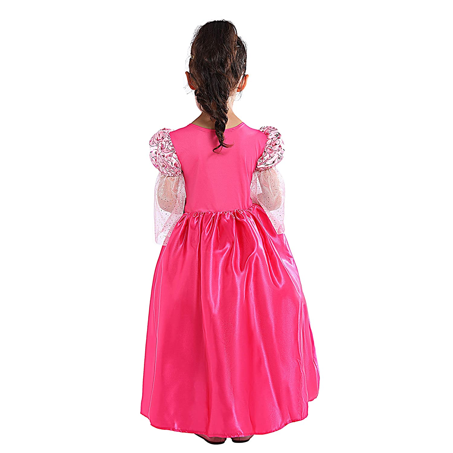 SPUNICOS Toddlers Girls Pink Medieval Princess Costume Ankle Length Dress with Tiara