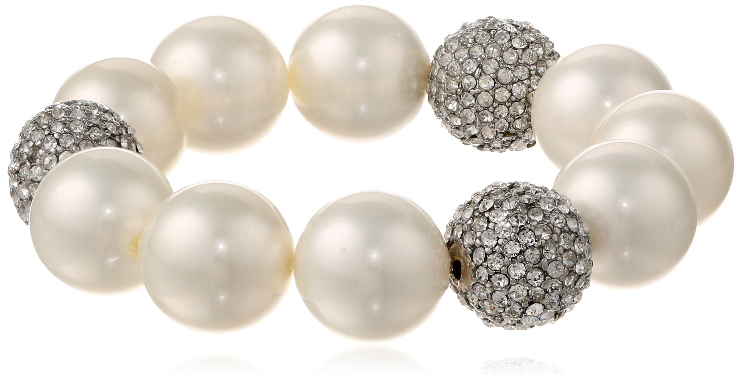 Kenneth Jay Lane Pearl and Crystal Pave Ball Stretch Bracelet, 8''