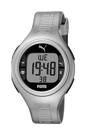 Puma PU910541009 - Reloj digital de cuarzo para mujer con correa de caucho, color plateado: Amazon.es: Relojes