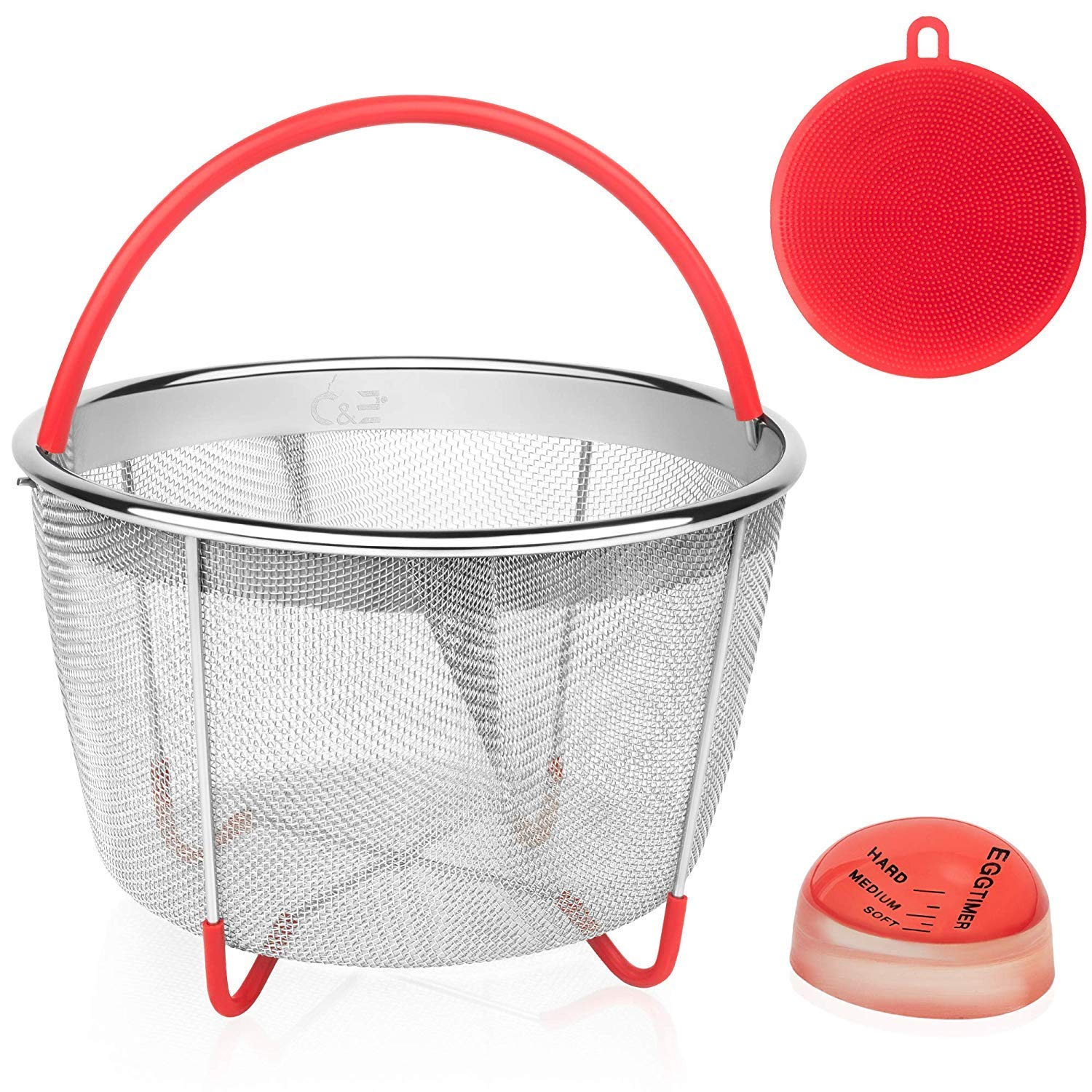 Steamer Basket for 6Qt & 8Qt Instant Pot | Stainless Steel Strainer Insert with Handles for Pressure Cooker | Perfect for Pasta, Vegetables, Rice or Meats | B0NUS Silicone Sponge + Egg Timer
