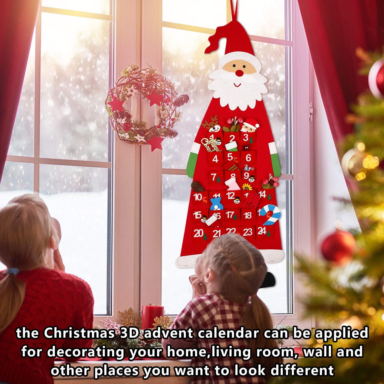 Calendario de Adviento de Fieltro Navide/ño Calendario de Adviento 3D de Santa con Bolsillos de 24 D/ías Adornos Colgantes de Cuenta Regresiva de Navidad para Decoraci/ón de Pared Puerta Oficina Casa