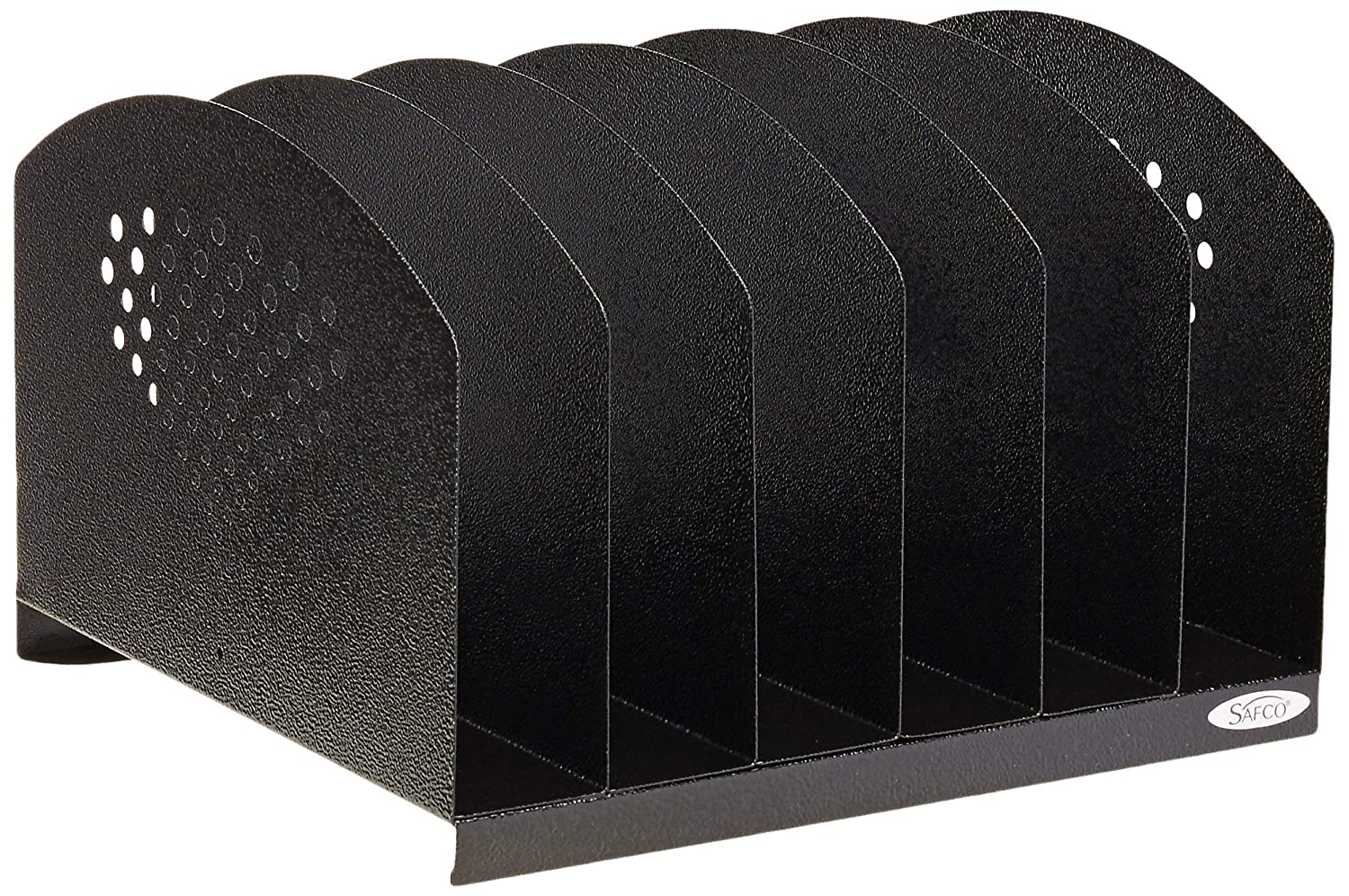 Safco Products 3155BL Steel Desk Organizer Rack with 6 Vertical Sections, Black