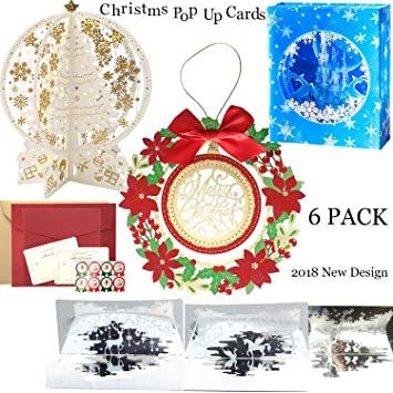 christmas 3d pop up cards greeting cards with envelope stickers for xmas eve
