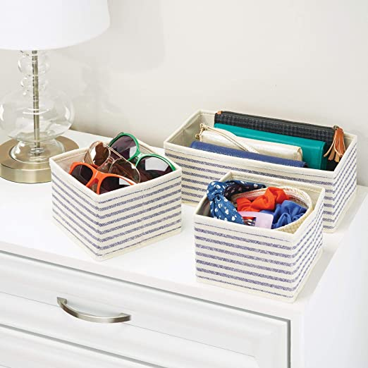 Amazon.com: mDesign Soft Fabric Dresser Drawer and Closet Storage Organizer for Bedroom, Closet, Shelves, Drawers - Clothing/Accessory Organizing Bins - Set ...