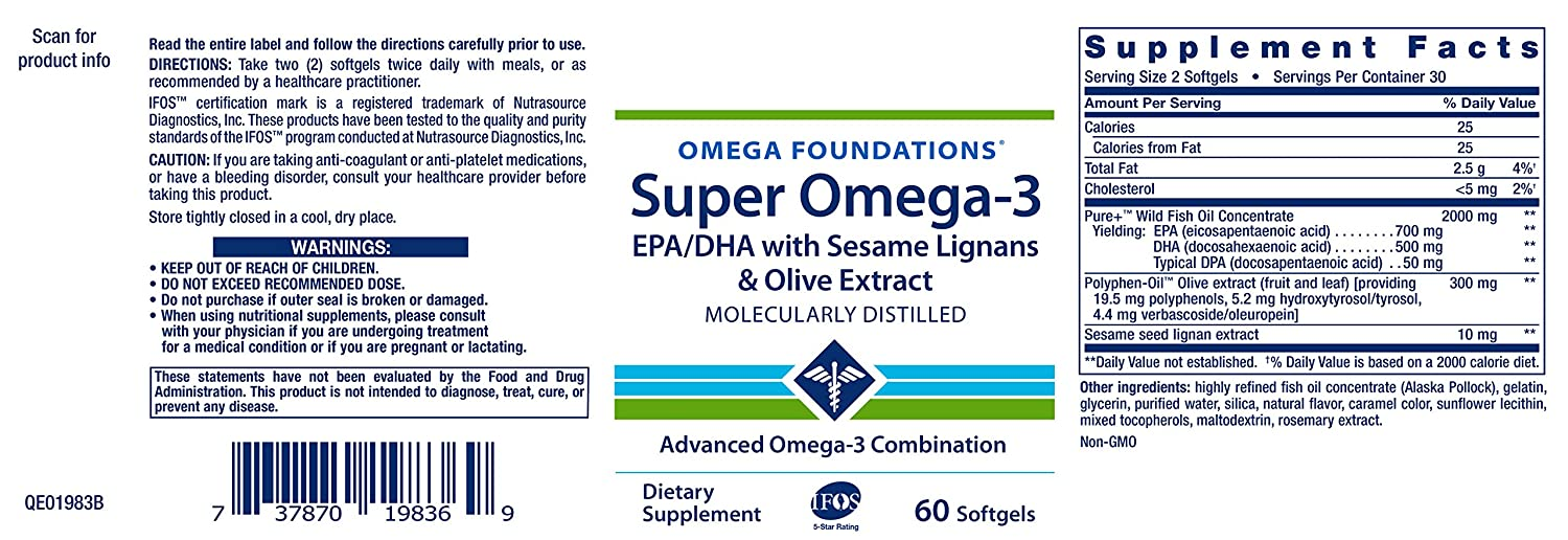 Life Extension Super Omega-3 EPA/DHA Withsesame Ligans and ...