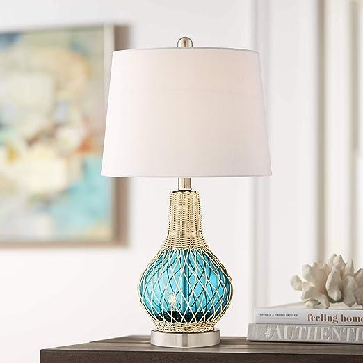 Amazon.com: Alana - Lámpara de mesa de cristal azul con luz ...