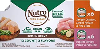 product image for Nutro Petite Eats Chicken and Roasted Turkey & Vegetable Cuts in Gravy Adult Wet Dog Food Variety Pack, 3.5 oz, Count of 12