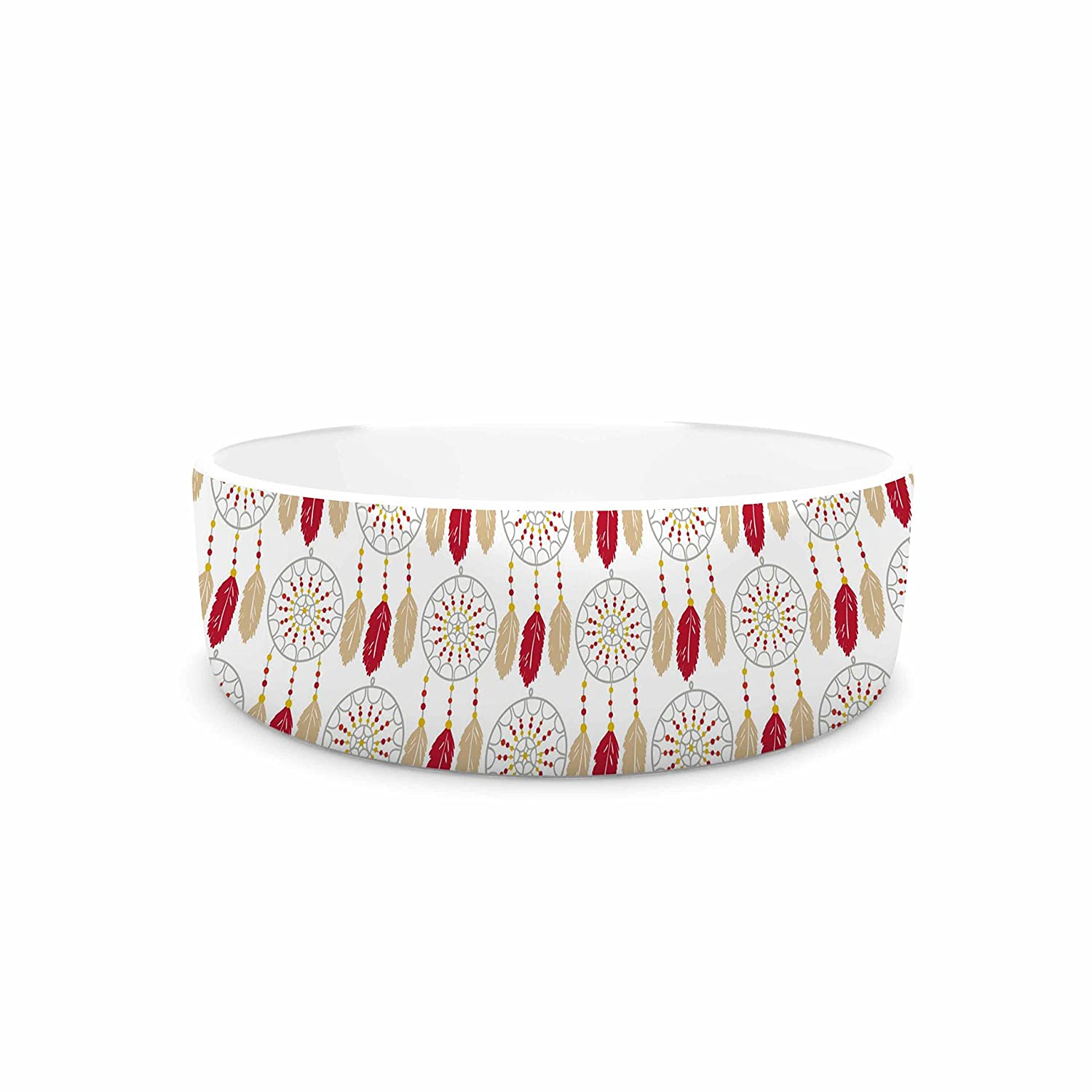 KESS InHouse Petit Griffin Dreams In color Red  gold Pet Bowl, 7