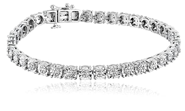 Review Sterling Silver White Round Diamond Miracle Plated Bracelets (1/4cttw, I-JColor, I3 Clarity), 7""