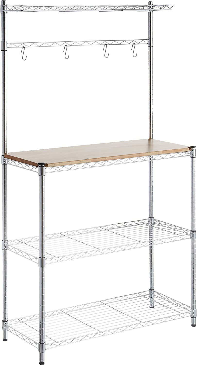 "Basics Kitchen Storage Baker's Rack with Table, Wood/Chrome - 63.4"" Height: Home & Kitchen"