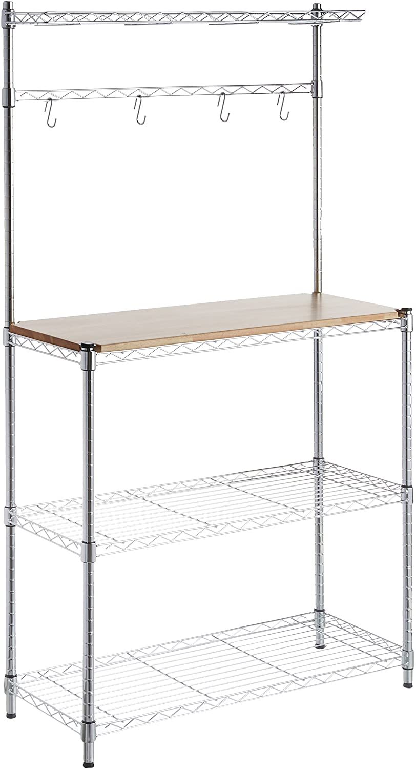 AmazonBasics Kitchen Storage Baker s Rack with Table, Wood Chrome