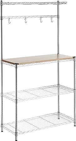 Esta estantería de cocina ofrece un espacio de almacenamiento resistente y elegante.,Hecha de acero