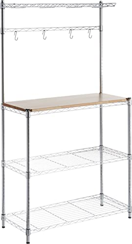 AmazonBasics Kitchen Storage Baker s Rack with Table, Wood Chrome – 63.4 Height