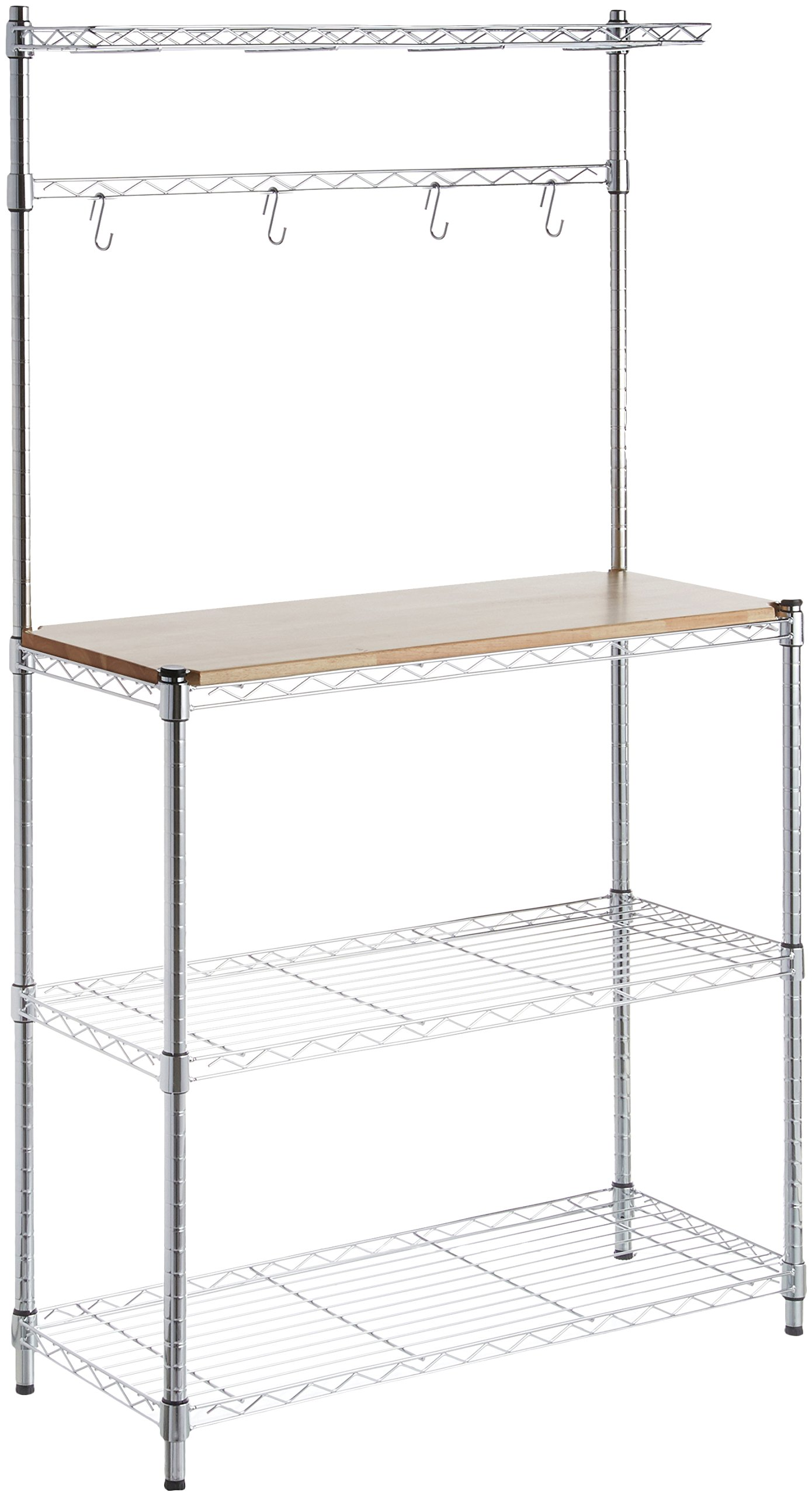 AmazonBasics Kitchen Storage Baker's Rack with Wood Table, Chrome/Wood – 63.4″ Height