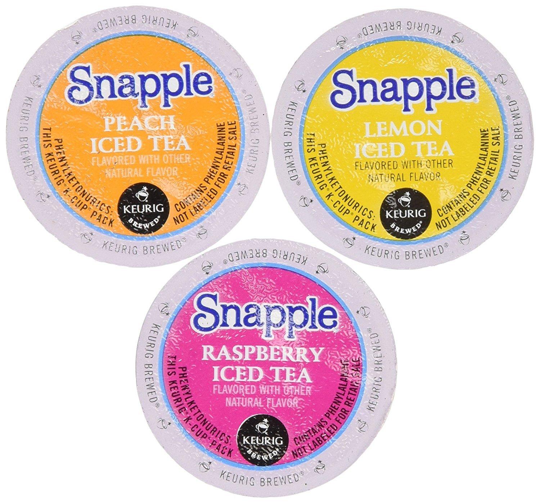 30 Pack - Snapple Variety Iced Tea Sampler K-Cup for Keurig Brewers - Lemon, Raspberry, Peach - Packaging May Vary by Custom Variety Pack