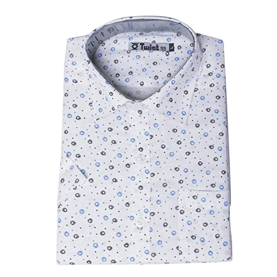 945301d2b298 Twist Men's White Printed Luxurious Linen Half Sleeve Shirt with Contrast &  Free Shipping: Amazon.in: Clothing & Accessories