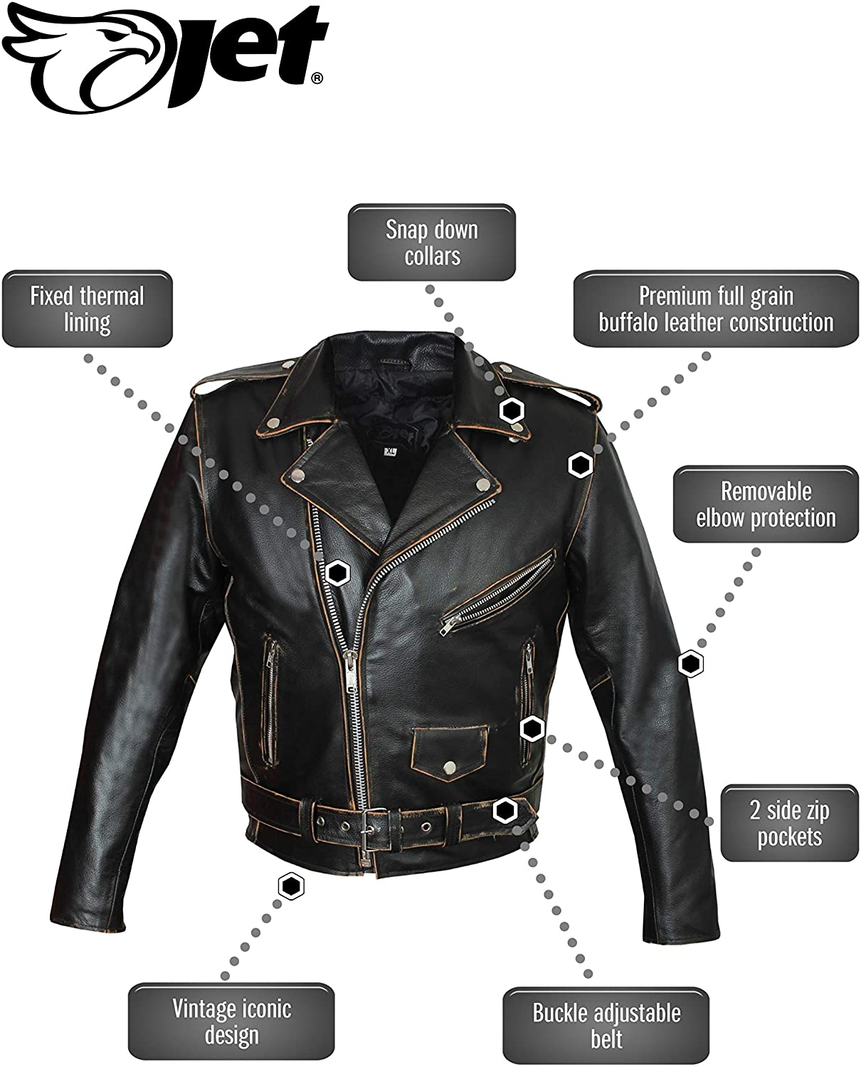 S, Distressed Black JET Motorcycle Motorbike Jacket Mens Leather CE Armoured Retro Vintage Iconic BRANDO