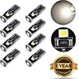 simdevanma Automobile LED Bulbs T10 194 168 175 2825 with 3030 Chipset Xenon White for Interior Dome Map Door Courtesy License Plate Lights Compact Wedge and Set of 8pcs