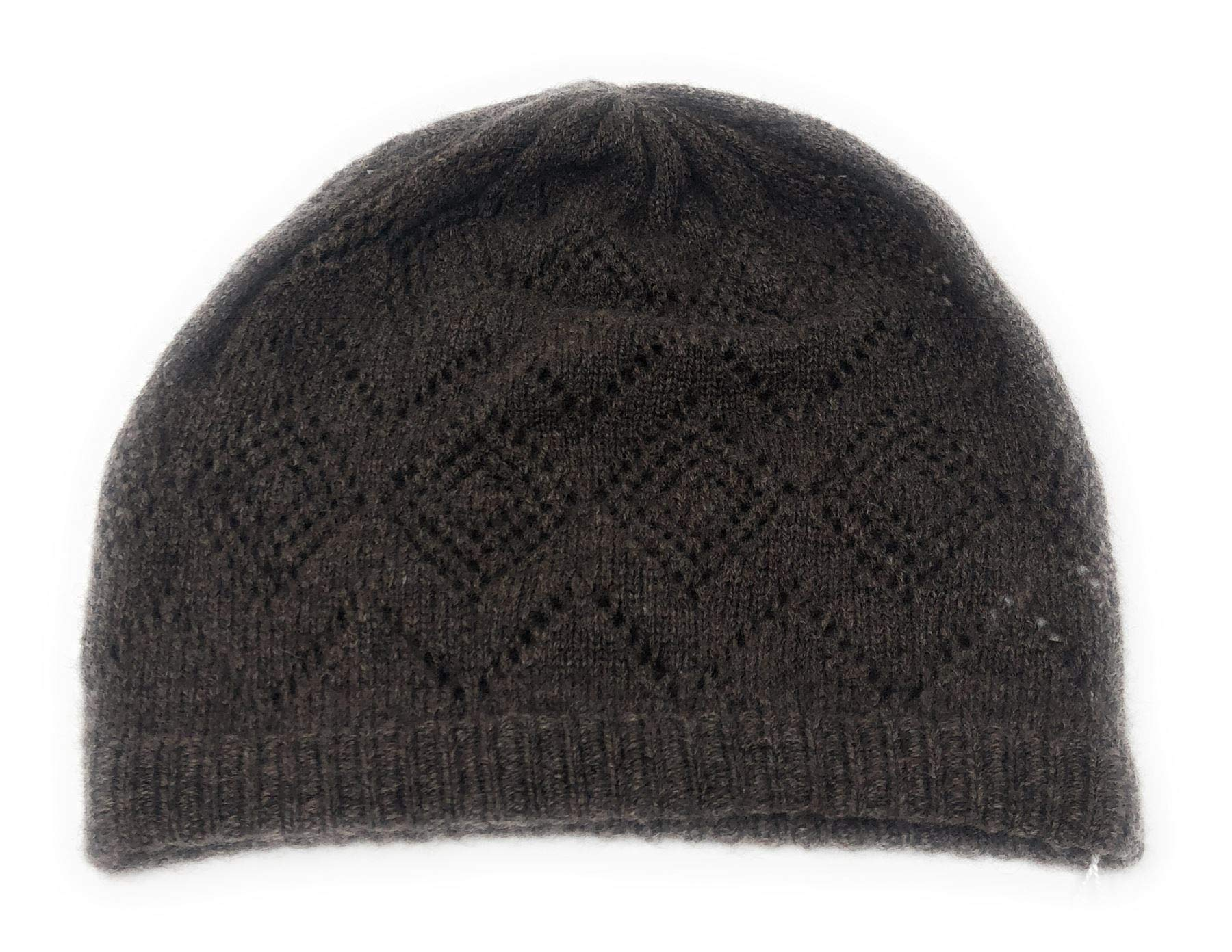 100% Cashmere Ladies Lacy Knit Beanie Hat - Chocolate Brown