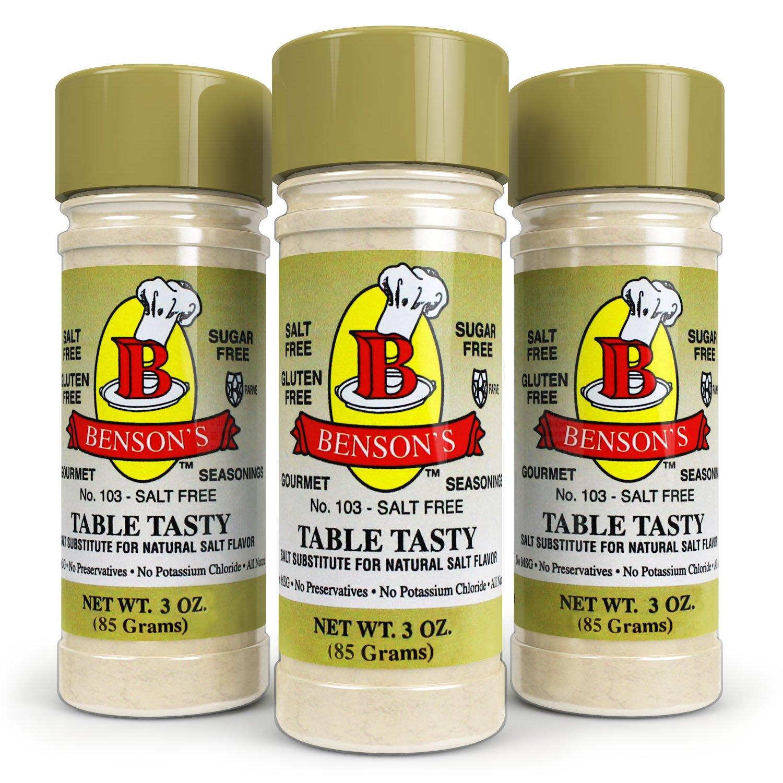 3-Pack Table Tasty No Potassium Chloride Salt Substitute - No Bitter After Taste - Good Flavor - No Sodium Salt Alternative (3 oz) (Pack of 3)
