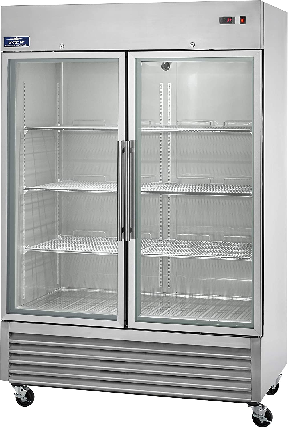 Arctic Air AGR49 Two Door Glass Reach-In Refrigerators, 2 doors 6 shelves, 33DF to 41DF, 49 cu. ft, Stainless Steel