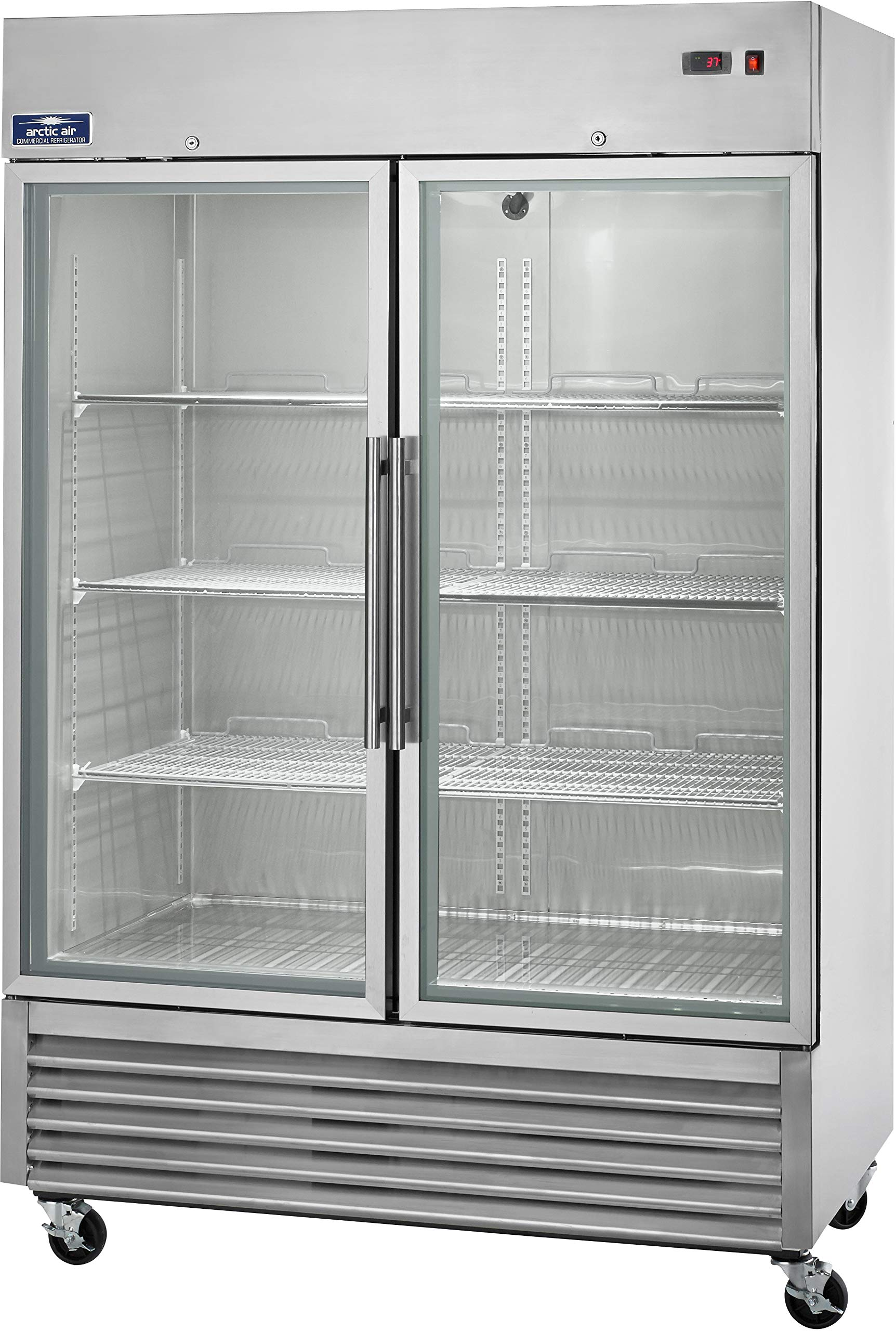 Arctic Air AGR49 Two Door Glass Reach-in Refrigerators, 2 Doors 6 Shelves, 33DF to 41DF, 49 cu. ft, Stainless Steel by Arctic Air