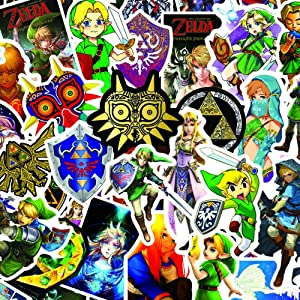 The Legend of Zelda Sticker for Water Bottles,Anime Game Stickers Decals for Laptop Cups Tumbler Bike Car Guitar Motorcycle Bumper Luggage Skateboard, Best Gift for Kids Teen Birthday Party (Zelda)
